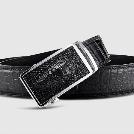 Luxury Automatic Buckle Genuine Alligator Skin Dress Belt-Buckle