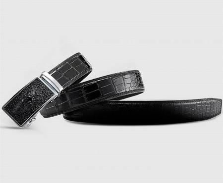 Luxury Automatic Buckle Genuine Alligator Skin Dress Belt-Lay