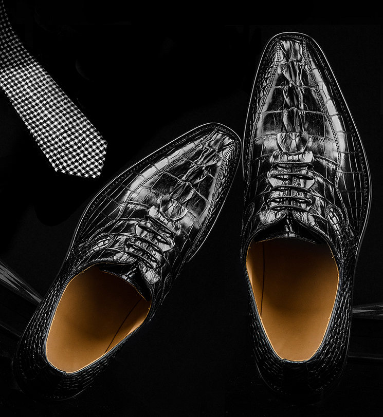 Men's Modern Classic Lace Up Alligator Dress Shoes-Exhibitions