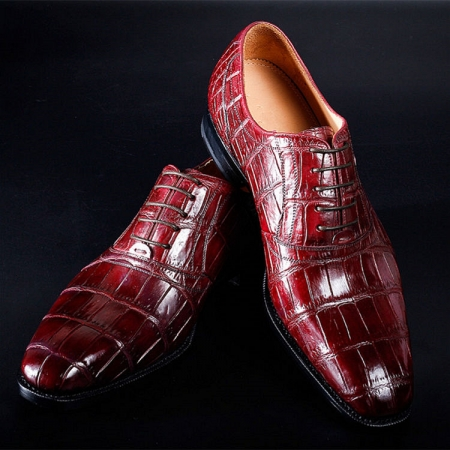 Mens Alligator Cap Toe Lace Up Shoes