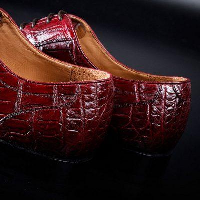Mens Alligator Cap Toe Lace Up Shoes-Heel