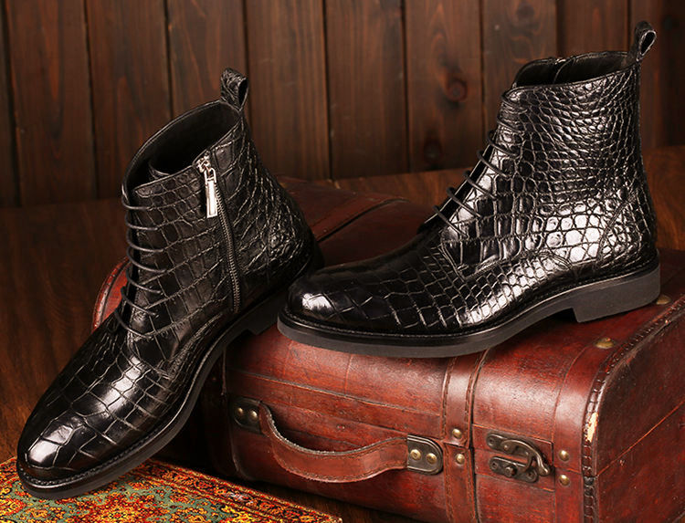 Mens Alligator Skin Lace-up Boots-Exhibition-1