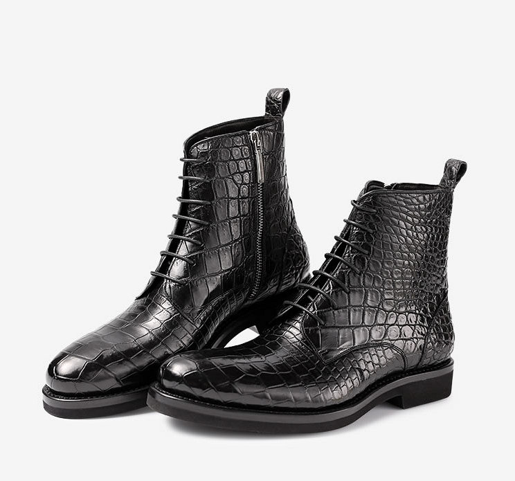 Mens Alligator Skin Lace-up Boots-Exhibition