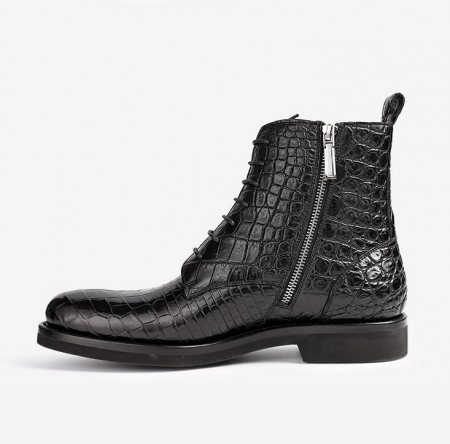 Mens Alligator Skin Lace-up Boots-Side