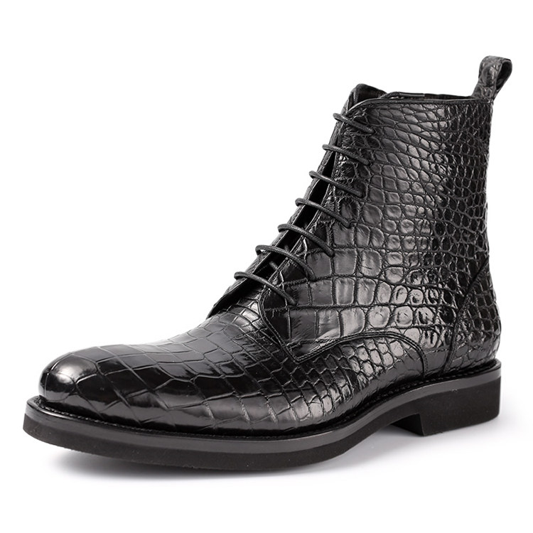 Mens Alligator Skin Lace-up Boots