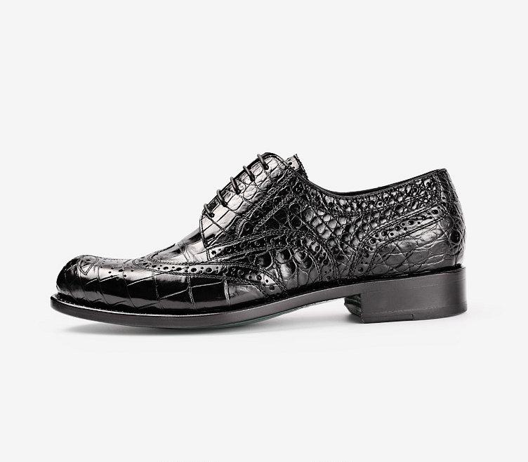 Mens Alligator Skin Oxford Business Dress Shoes-Side