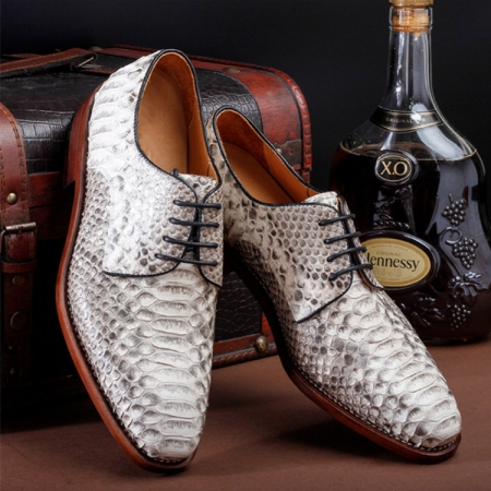 Mens Business Snakeskin Shoes, Casual Python Skin Shoes