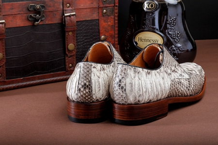 Mens Business Snakeskin Shoes, Casual Python Skin Shoes-Heel