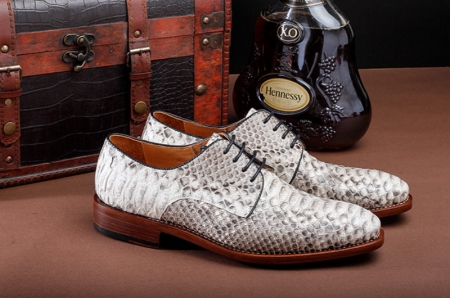 Mens Business Snakeskin Shoes, Casual Python Skin Shoes-Side