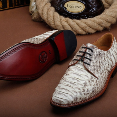 Mens Business Snakeskin Shoes, Casual Python Skin Shoes-Sole