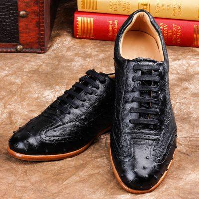 Mens Casual Ostrich Shoes-Black