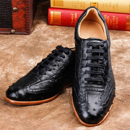 Mens Casual Ostrich Shoes-Black