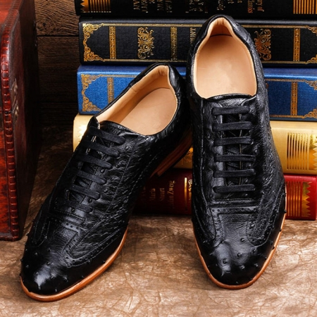 Mens Casual Ostrich Shoes-Black-Upper
