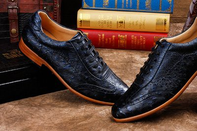 Mens Casual Ostrich Shoes-Dark Blue-Exhibition-1