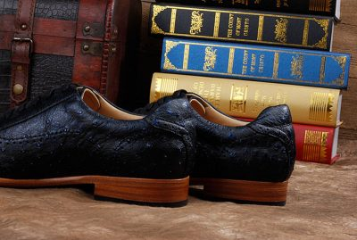 Mens Casual Ostrich Shoes-Dark Blue-He