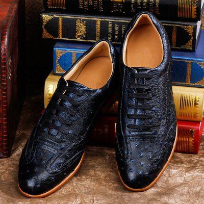 Mens Casual Ostrich Shoes-Dark Blue-Upper