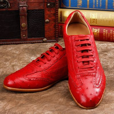 Mens Casual Ostrich Shoes-Red