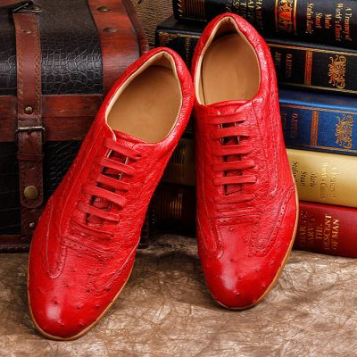 Mens Casual Ostrich Shoes-Red-Upper