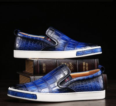 Mens Daily Slip On Fashion Alligator Sneakers - Blue-Exhibition