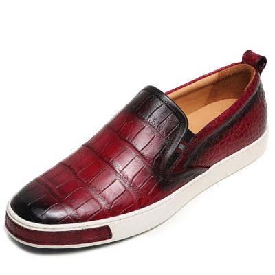 Mens Daily Slip On Fashion Alligator Sneakers - Wine Red