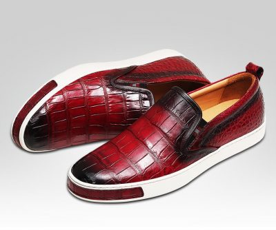 Mens Daily Slip On Fashion Alligator Sneakers - Wine Red-Details