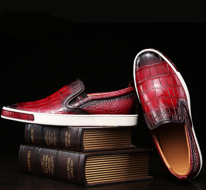 Mens Daily Slip On Fashion Alligator Sneakers - Wine Red-Exhibition