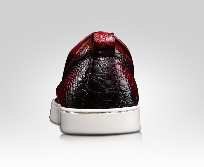 Mens Daily Slip On Fashion Alligator Sneakers - Wine Red-Heel