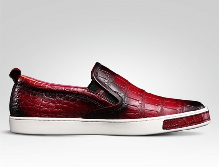 Mens Daily Slip On Fashion Alligator Sneakers - Wine Red-Side