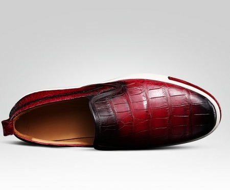 Mens Daily Slip On Fashion Alligator Sneakers - Wine Red-Upper