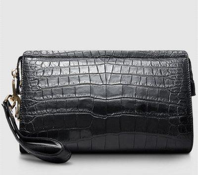 Mens Genuine Alligator Skin Wallet, Designer Alligator Clutch Wallet-Back