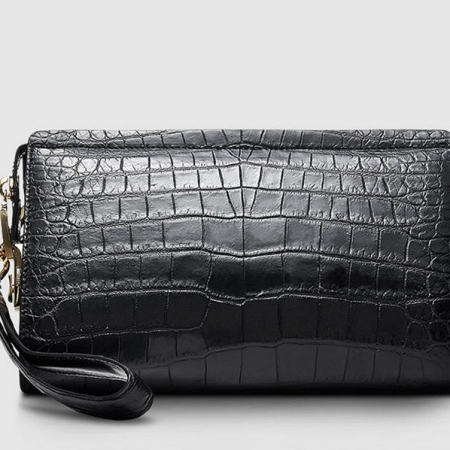 Mens Genuine Alligator Skin Wallet, Designer Alligator Clutch Wallet-Back