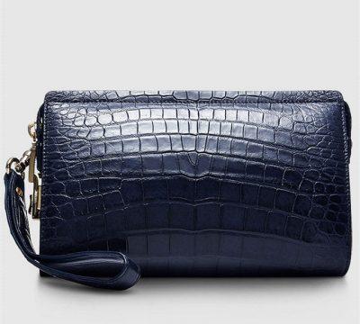 Mens Genuine Alligator Skin Wallet, Designer Alligator Clutch Wallet-Blue-Back