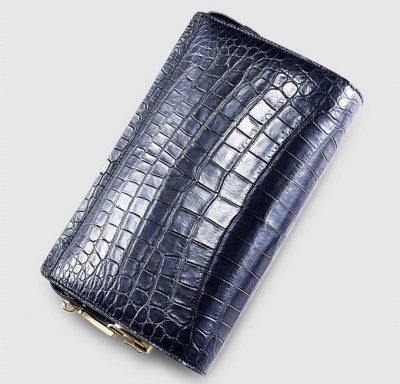 Mens Genuine Alligator Skin Wallet, Designer Alligator Clutch Wallet-Dark Blue