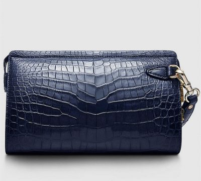 Mens Genuine Alligator Skin Wallet, Designer Alligator Clutch Wallet-Dark Blue-Front