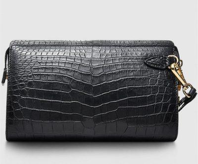 Mens Genuine Alligator Skin Wallet, Designer Alligator Clutch Wallet-Front