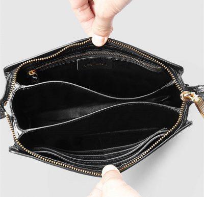 Mens Genuine Alligator Skin Wallet, Designer Alligator Clutch Wallet-Inside