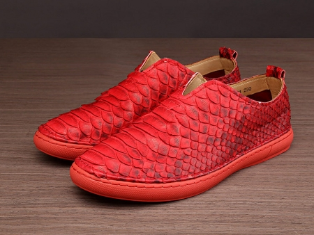 Mens Snakeskin Shoes, Python Shoes - Red-1