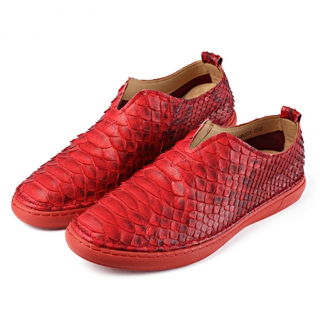 Mens Snakeskin Shoes, Python Shoes - Red