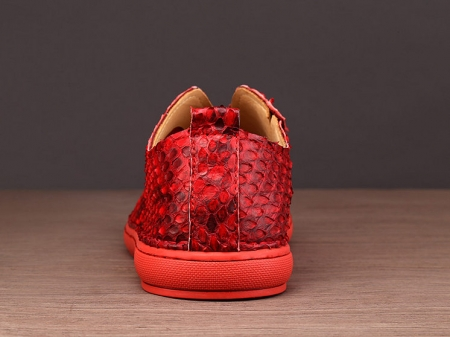 Mens Snakeskin Shoes, Python Shoes - Red-Details
