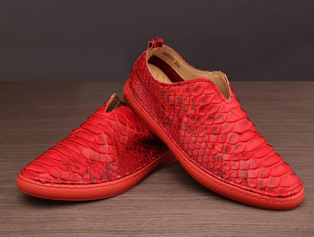 Mens Snakeskin Shoes, Python Shoes - Red-Exhibition