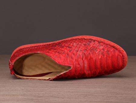 Mens Snakeskin Shoes, Python Shoes - Red-Upper
