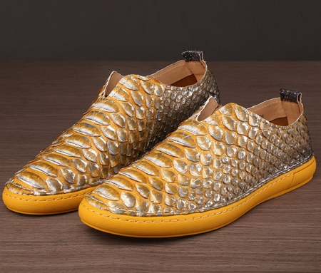 Mens Snakeskin Shoes, Python Shoes-Yellow-1