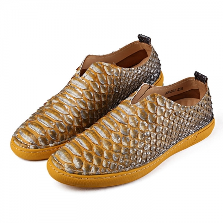 Mens Snakeskin Shoes, Python Shoes-Yellow