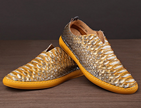 Mens Snakeskin Shoes, Python Shoes-Yellow-Exhibition