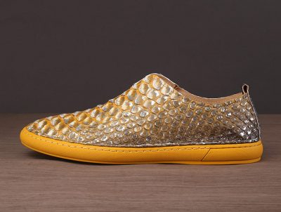 Mens Snakeskin Shoes, Python Shoes-Yellow-Side