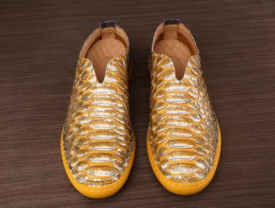 Mens Snakeskin Shoes, Python Shoes-Yellow-Upper