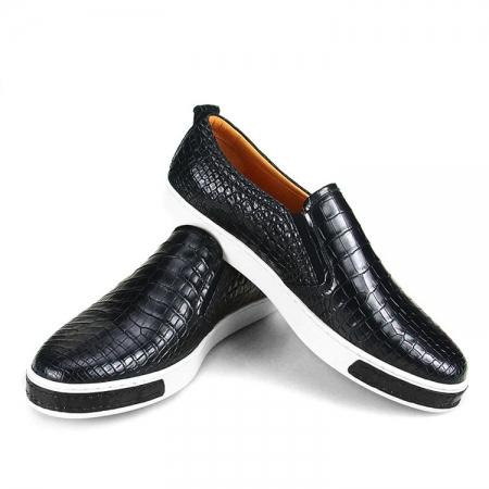 Premium Genuine Alligator Skin Casual Slip On Sneaker - Black-1