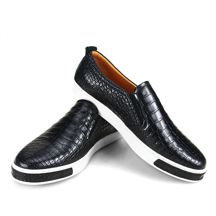 Premium Genuine Alligator Skin Casual Slip On Sneaker - Black-1