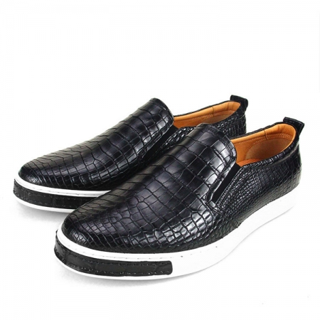 Premium Genuine Alligator Skin Casual Slip On Sneaker - Black-2