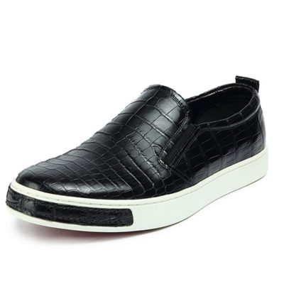 Premium Genuine Alligator Skin Casual Slip On Sneaker - Black